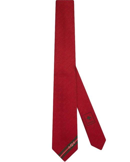 メンズ Gucci グッチダブルg &ホースビット ジャカード シルク ネクタイ Red