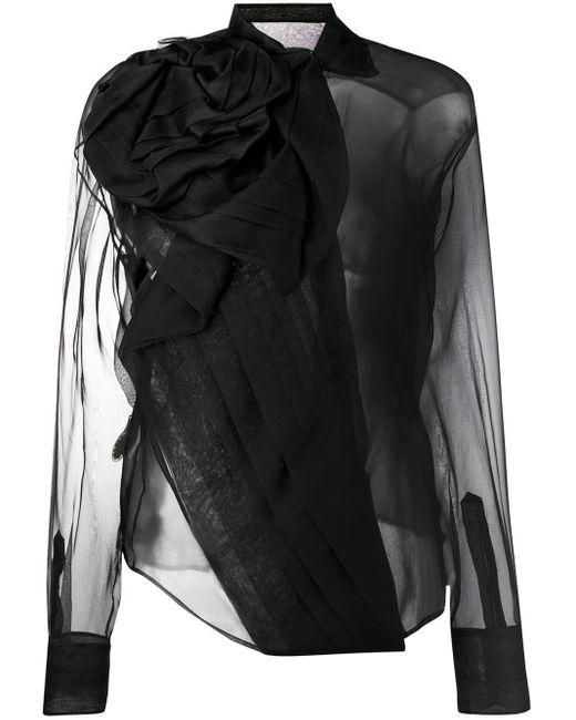 Dior ドレープ シアーブラウス Black