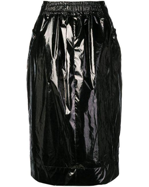 Jupe mi-longue à effet verni Kwaidan Editions en coloris Black