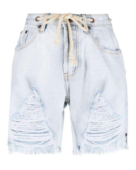 One Teaspoon Blue Frayed-edge Denim Shorts