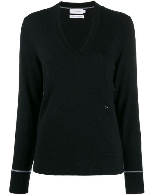 Calvin Klein Vネック セーター Black