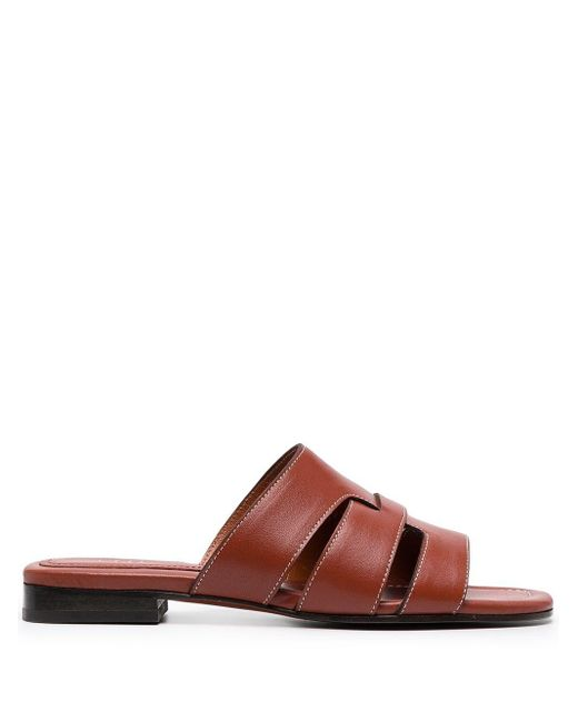 MANU Atelier Red Flat Leather Sandals