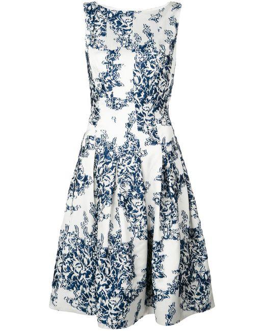 Oscar de la Renta White Kleid mit Blumen-Print