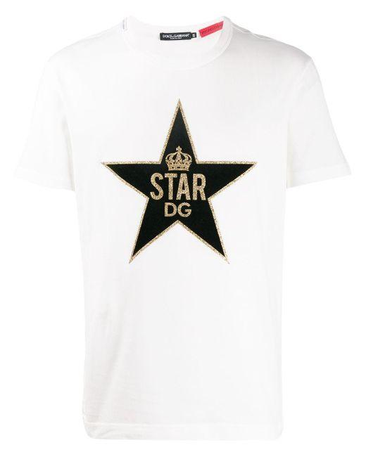 メンズ Dolce & Gabbana Dg スタープリント Tシャツ White