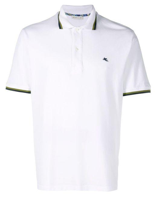 メンズ Etro ストライプトリム ポロシャツ White