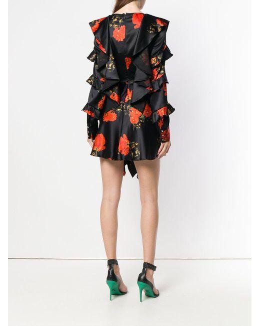 Ruffled Floral Print Dress Philipp Plein, цвет: Black