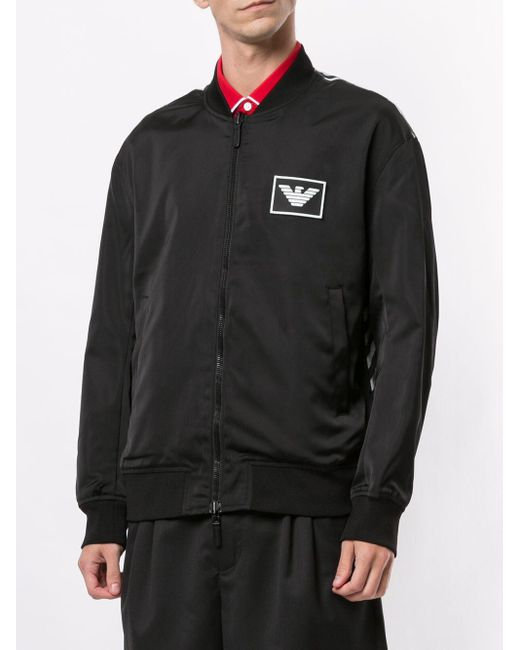 メンズ Emporio Armani プリント ボンバージャケット Black