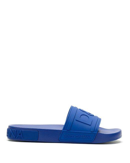 メンズ Dolce & Gabbana エンボスロゴ サンダル Blue