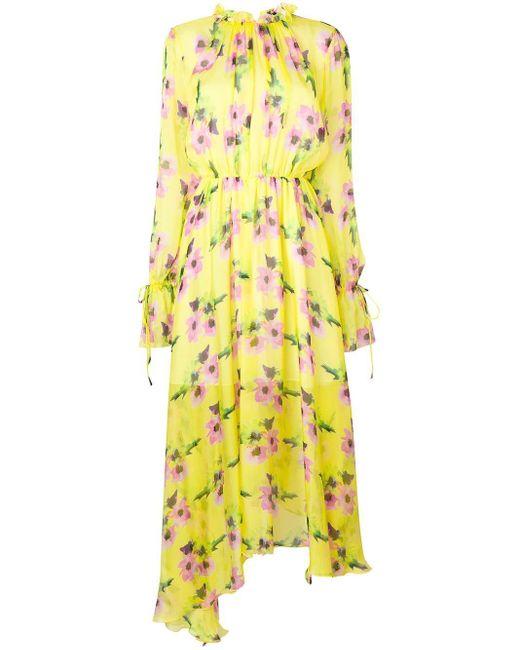 MSGM フローラル フレアドレス Yellow