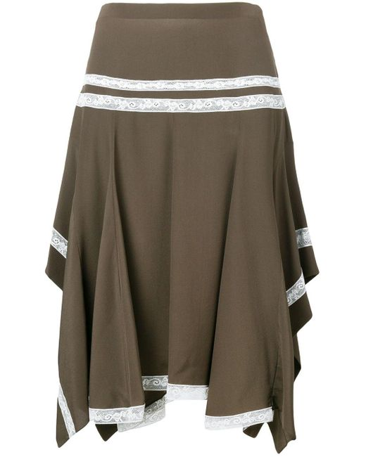 Chloé Lace-embroidered Flared Skirt Brown