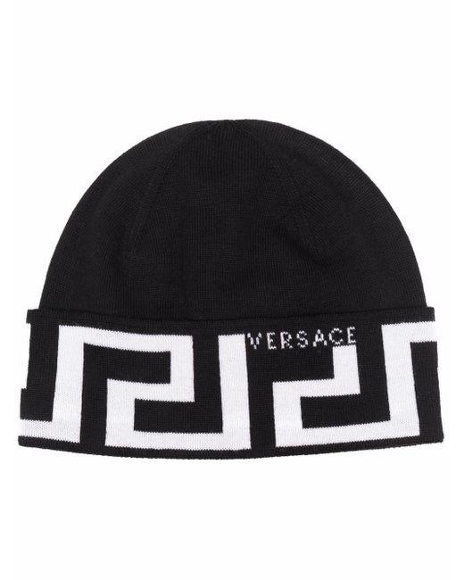 Versace Black Greca-print Wool Beanie for men