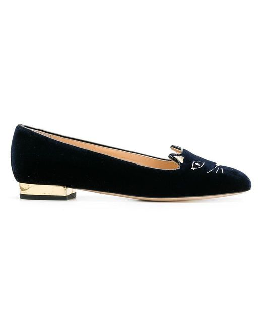 Charlotte Olympia - Blue Kitty Flats - Lyst