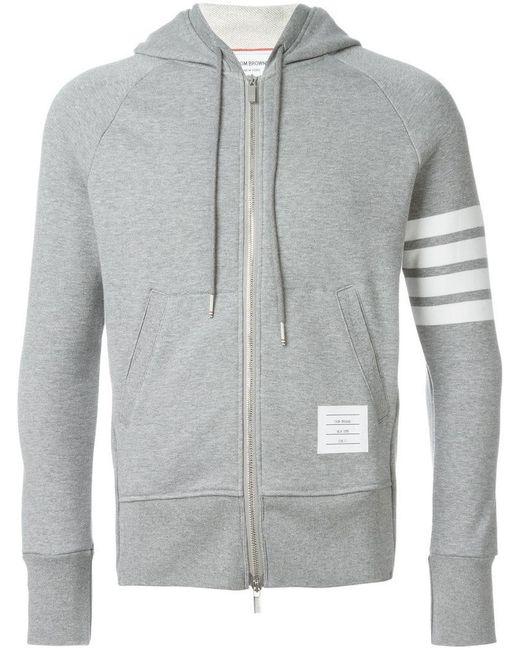 Thom Browne - Gray Zipped Hoodie for Men - Lyst