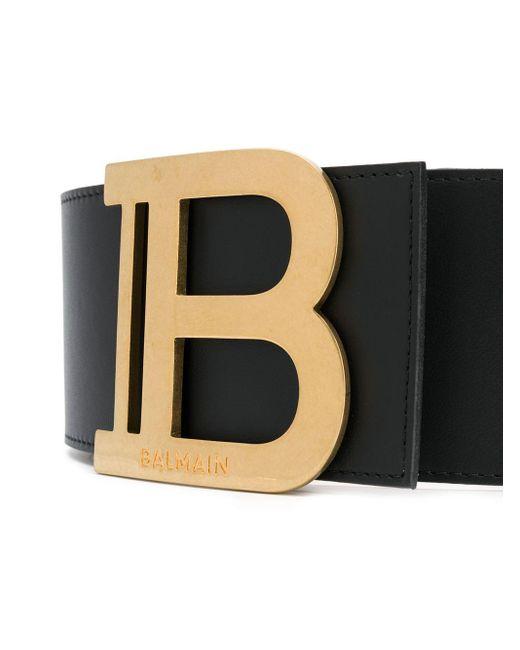 Balmain ロゴバックル ベルト Black