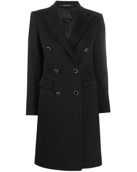 Tagliatore Black Double-breasted Wool Coat