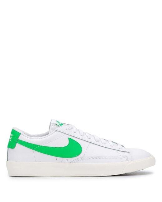 Белые Низкие Кожаные Кроссовки С Зеленой Отделкой Blazer-белый Nike для него, цвет: White