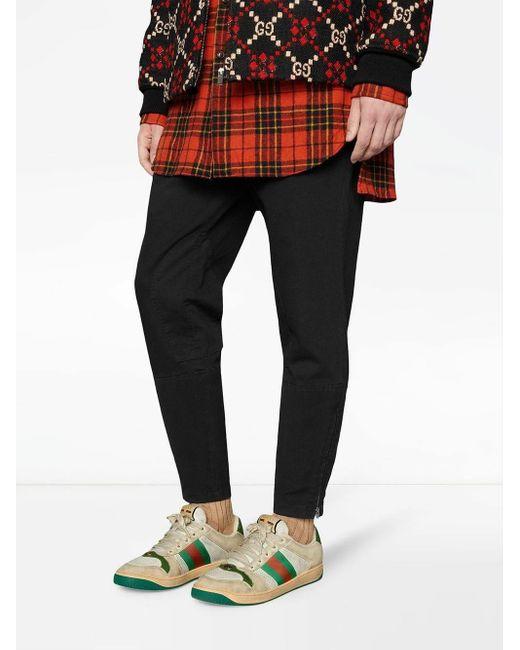 Gucci Screener Sneakers Van Leer in het White voor heren