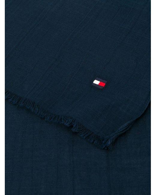 メンズ Tommy Hilfiger ロゴ フレイド スカーフ Blue