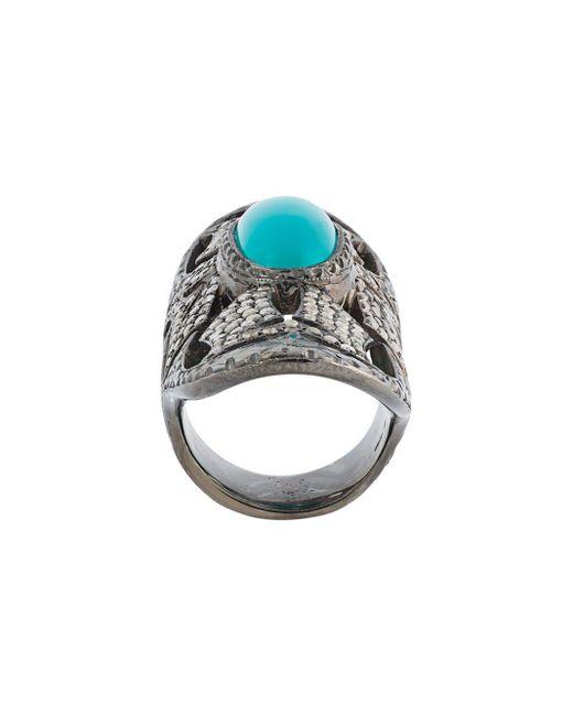 Loree Rodkin Metallic Turquoise & Diamond Bondage Ring
