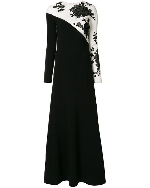 Carolina Herrera フローラルレース ドレス Black