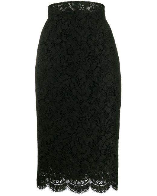 Dolce & Gabbana レース ペンシルスカート Black