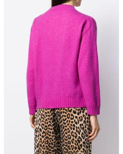 Laneus Purple Pullover mit rundem Ausschnitt