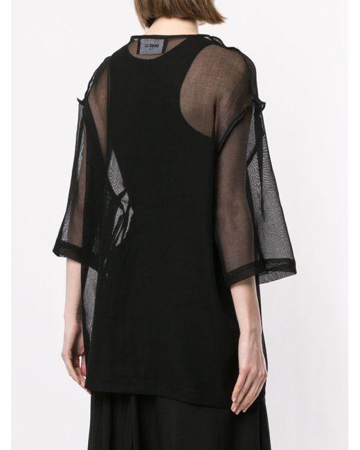 Blusa con panel translúcido Yang Li de color Black