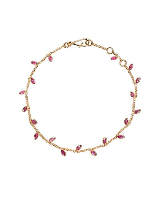 Annoushka Metallic 18kt Yellow Gold Vine Leaf Ruby Bracelet