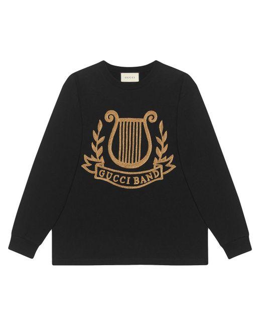 メンズ Gucci リラ パッチ オーバーサイズ ロングtシャツ Black
