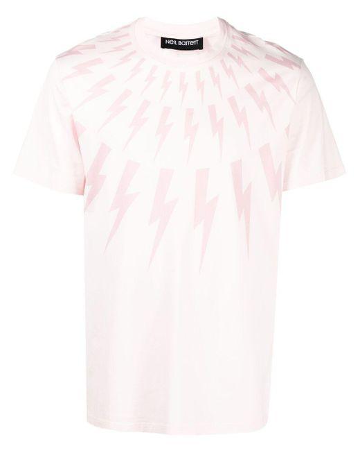 Neil Barrett Pink Thunderbolt-print Cotton T-shirt for men