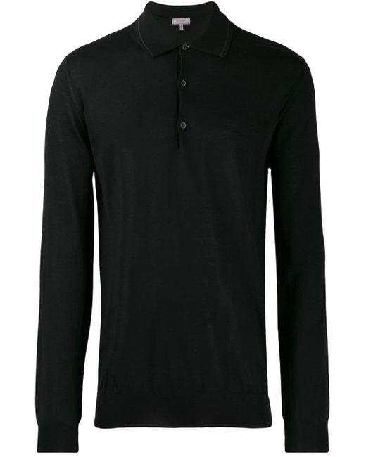 メンズ Lanvin ファインニット ポロシャツ Black