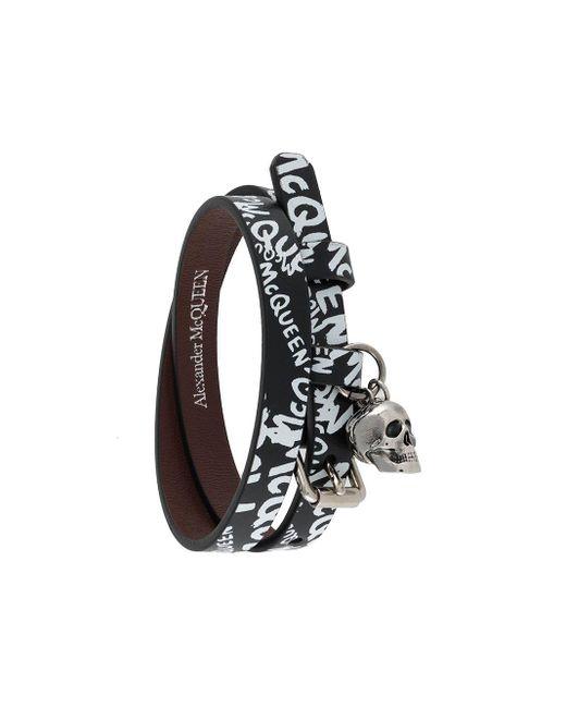 Браслет Skull С Принтом Граффити Alexander McQueen для него, цвет: Black