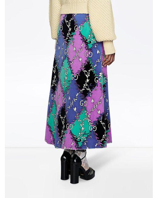 Gucci GG ランバス ラマージュ プリント スカート Purple