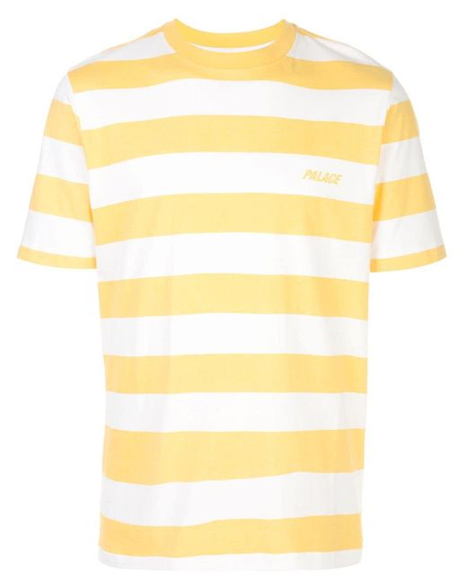 Palace Gestreiftes T-Shirt mit Logo in Yellow für Herren