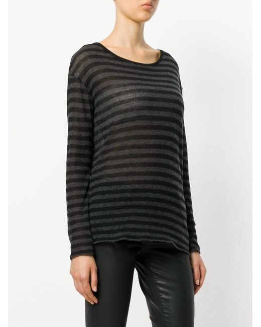 Majestic Filatures Striped Long Sleeved T Shirt In Grey Lyst