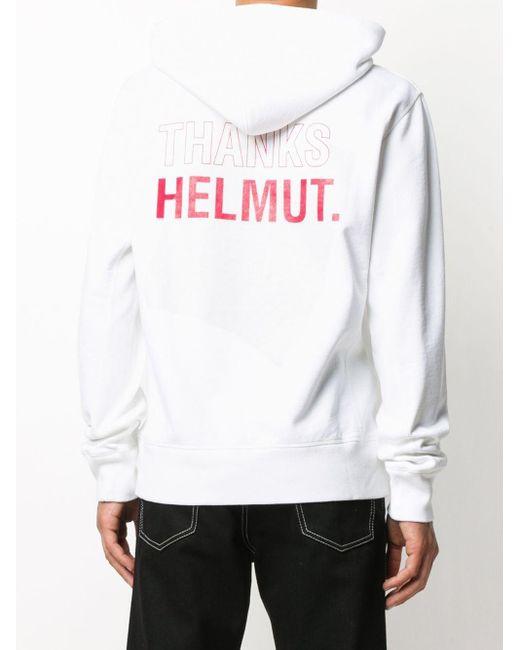 メンズ Helmut Lang ロゴ パーカー White