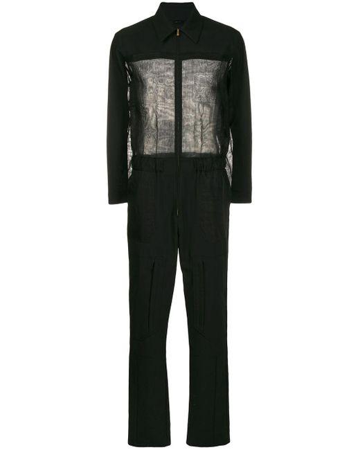 Fendi Black Sheer-panel Jumpsuit for men