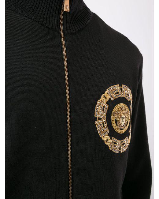Кошелек На Молнии С Вышитым Логотипом Versace для него, цвет: Black