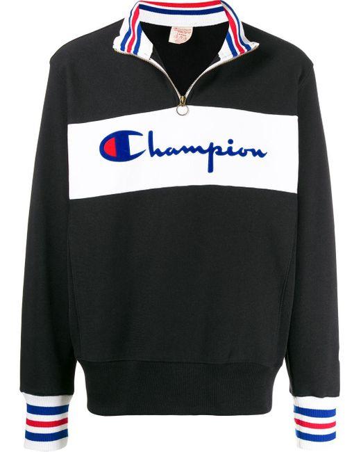メンズ Champion ロゴ プルオーバー Black