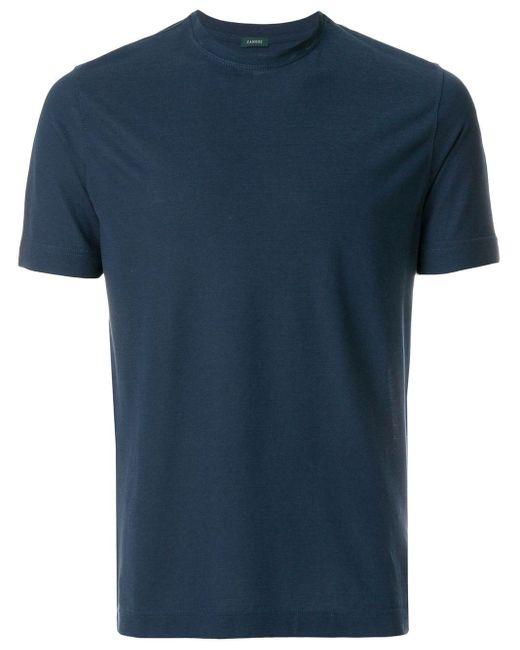 メンズ Zanone クルーネック Tシャツ Blue