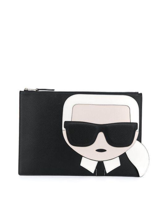 Karl Lagerfeld K/ikonik クラッチバッグ Black