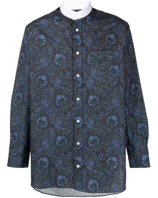メンズ Mackintosh ペイズリー マンダリンカラーシャツ Blue