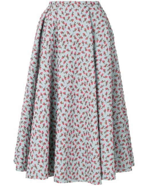 Rochas フローラル フレアスカート Multicolor