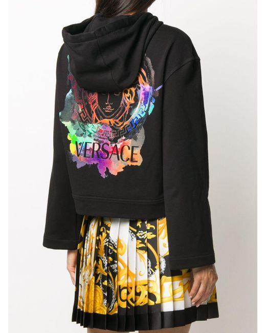 Versace メデューサ クロップド パーカー Black