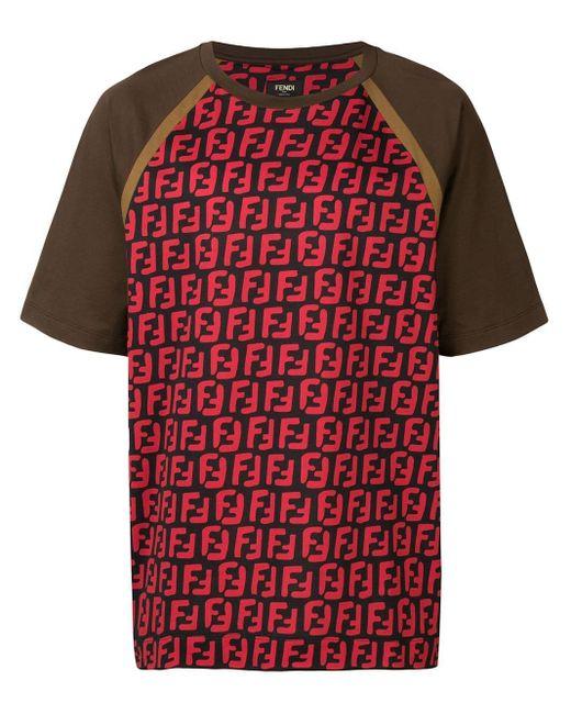 メンズ Fendi Ffプリント Tシャツ Red