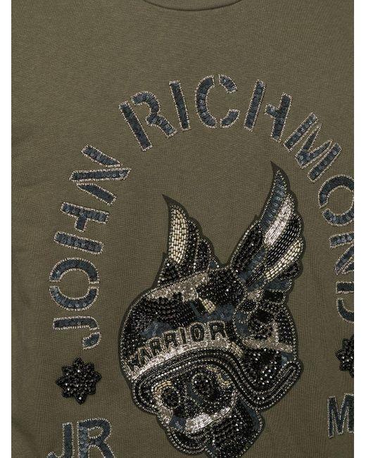 メンズ John Richmond Solitude ビーズスカル スウェットシャツ Green