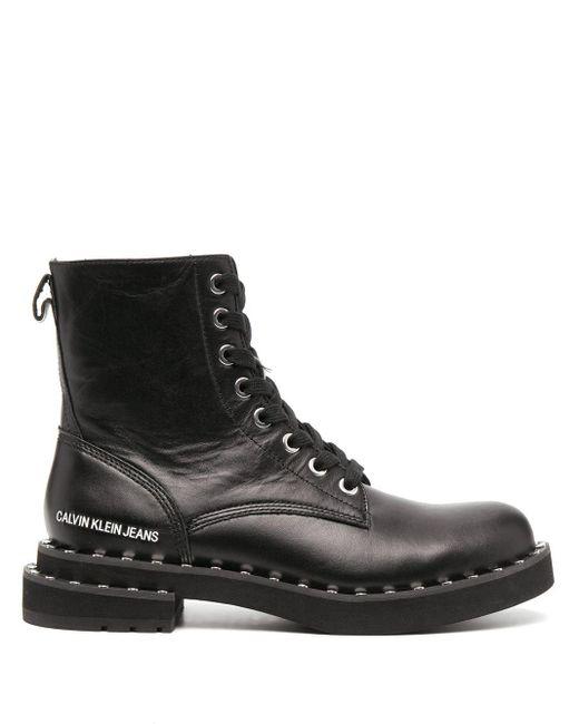 Calvin Klein スタッズ コンバットブーツ Black