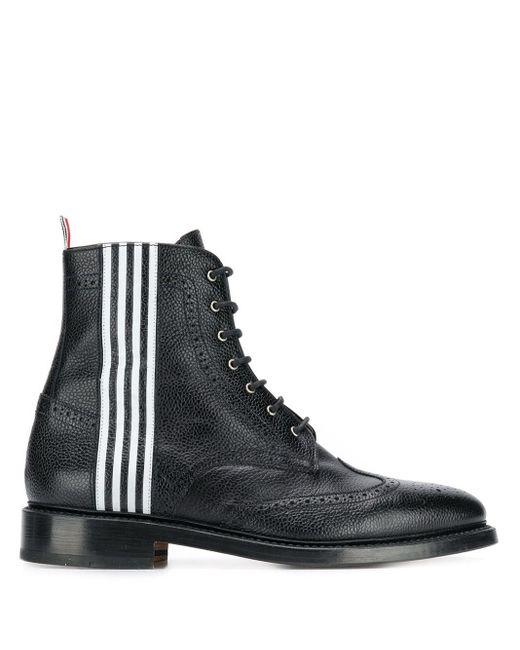 Ботинки С Полосками 4-bar Thom Browne для него, цвет: Black