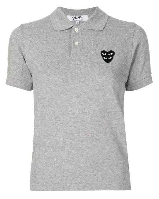 COMME DES GARÇONS PLAY ロゴパッチ ポロシャツ Gray