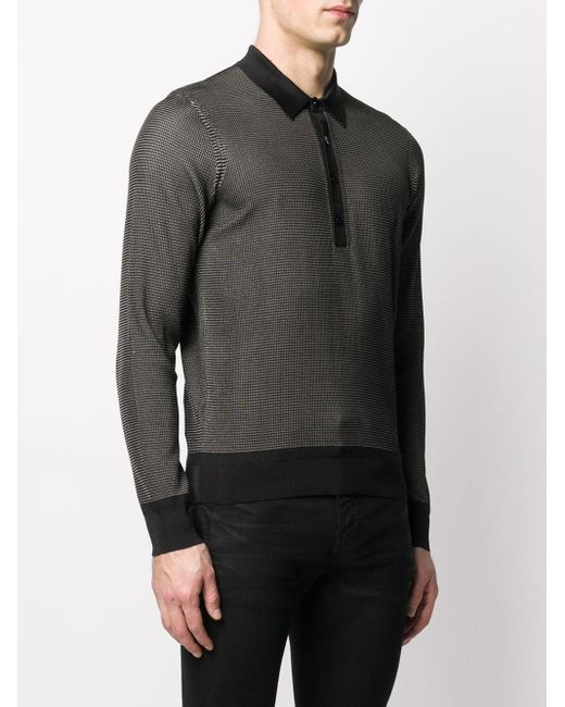 メンズ Tom Ford ウーブン ポロシャツ Black